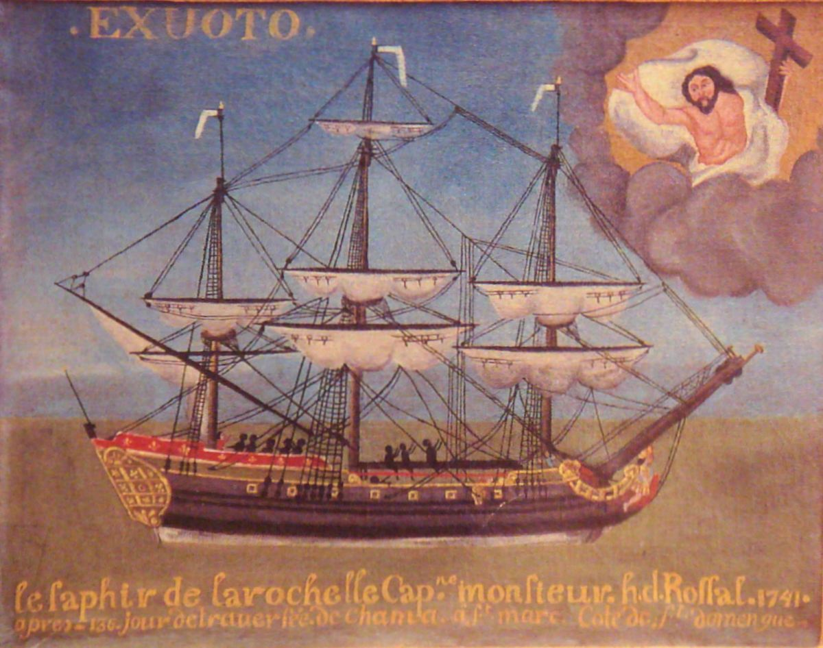 "Slave ship ""Le Saphir"", 1741. A ship from La Rochelle, France. Image from Wikipedia"
