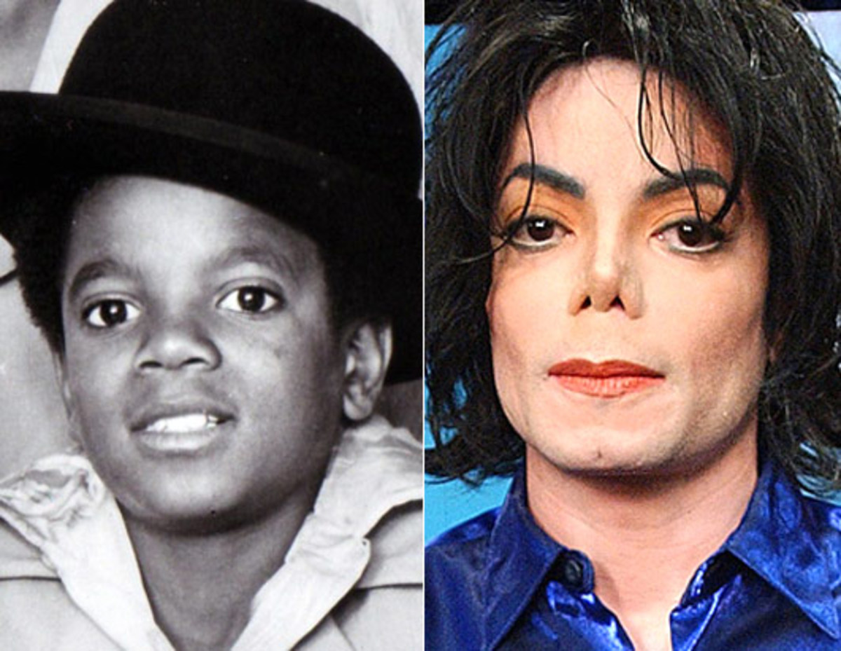 Michael Jackson pictured in his early days on the left and as an adult on the right.