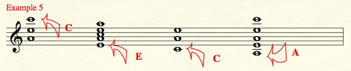 "Different versions of our triad built on the root ""A.""  Unfamiliar octave placements of chord tones are labeled."