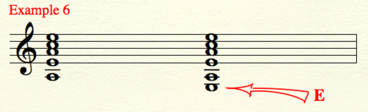 """Five-string"" and ""six-string"" versions of our triad built upon ""A.""  Version 2 is not in ""root position,"" since ""E,"" not ""A,"" is the lowest-sounding note."