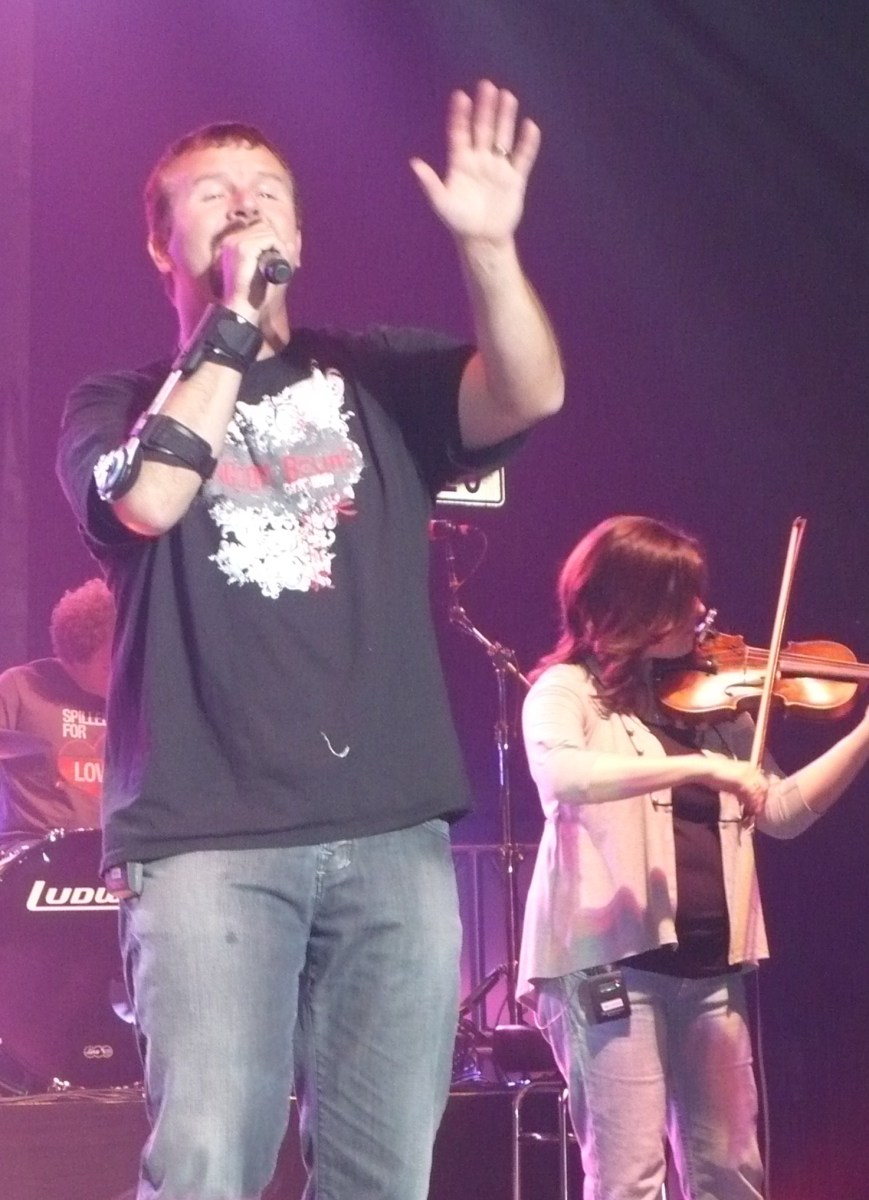 Casting Crowns lead singer, Mark Hall with Melodee Devevo on strings. Photo Credit: Cari Bousfield