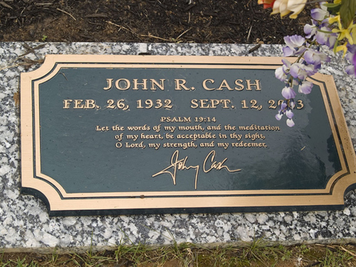 The grave of Johnny Cash in in Hendersonville Memory Gardens near his home in Hendersonville, Tennessee.  He was buried next to his wife, June, who died several months before him.  Some people believe that his broken heart brought on his death.