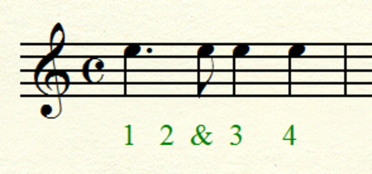 Dotted quarter note plus eighth note = 2 beats