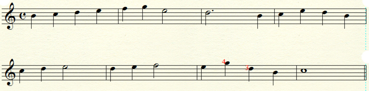 Notes B, C D E F & G on strings 1 & 2