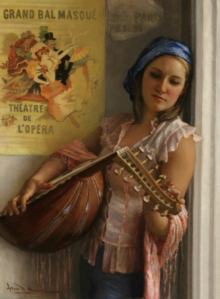 """Street Musician,"" by Allan Banks.  Hey, I see beautiful costumed lutenists playing in the street all the time--in my dreams.  Maybe if I moved to Paris. . ."