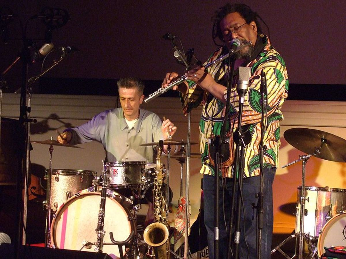 Avant-garde jazzman Sabir Mateen, flute, with drummer Steve Noble.  Image courtesy Andy Newcombe and Wikipedia.