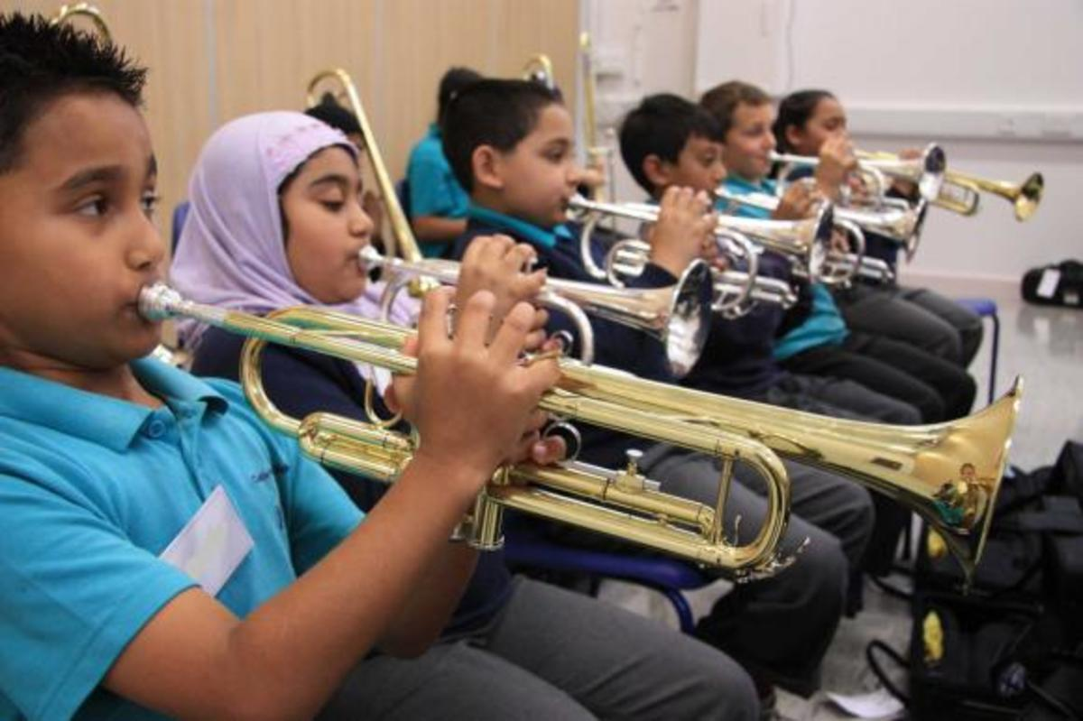 Young trumpet and cornet students in the UK.