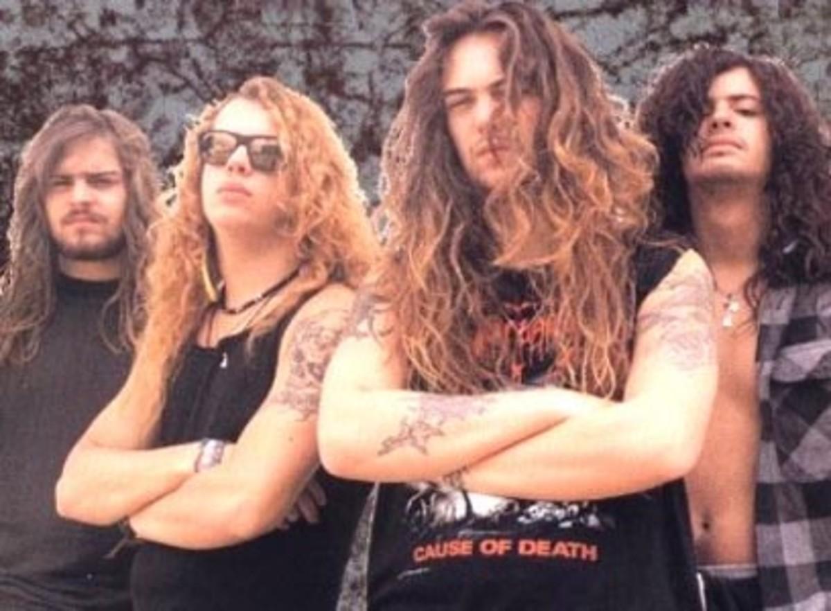 Sepultura 1991: (L-R) Andreas Kisser (guitar), Igor Cavalera (drums), Max Cavalera (guitar/vocals), Paulo Pinto Jr. (bass)