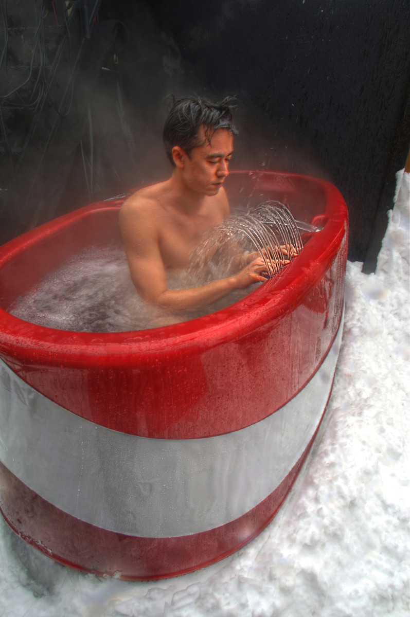 A hydraulophone in a hot tub