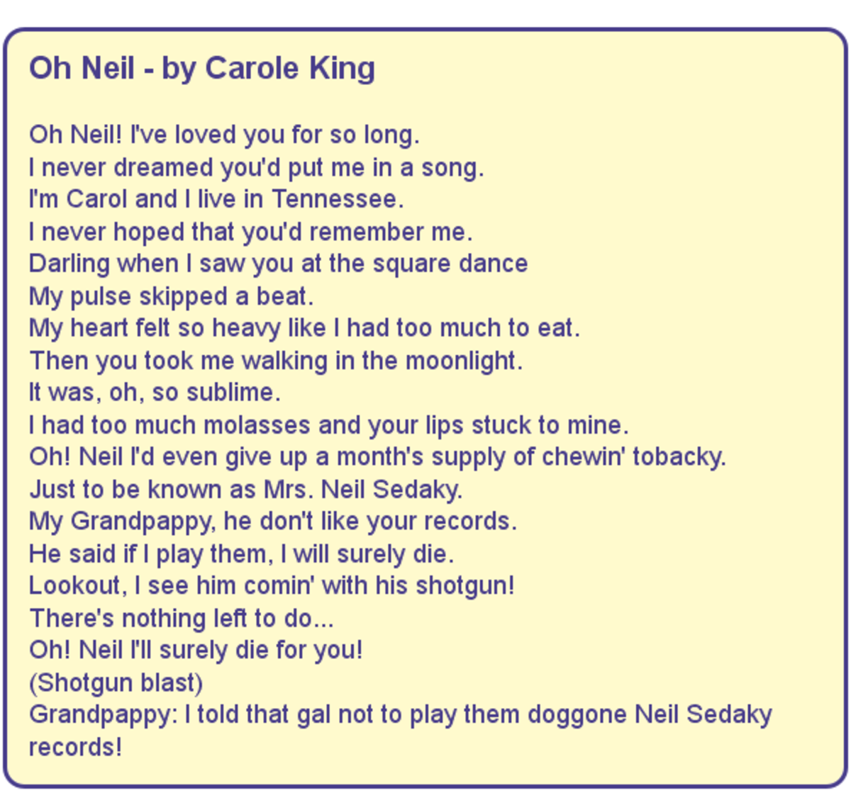 Oh Neil - Lyrics by Carole King