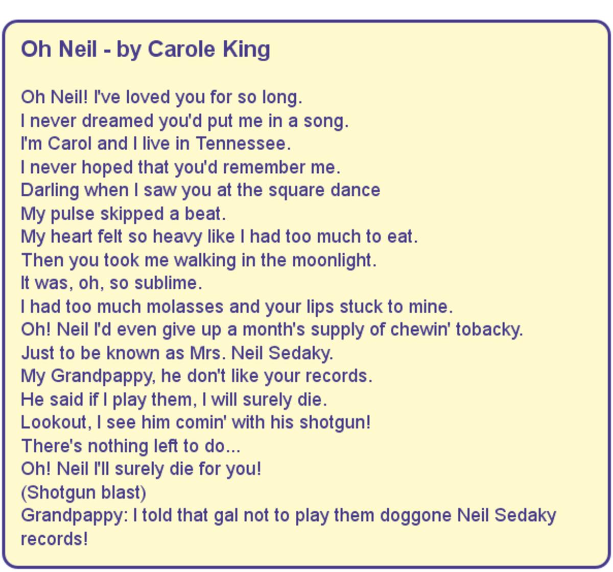 Oh Neil - Lyrics by Carole King