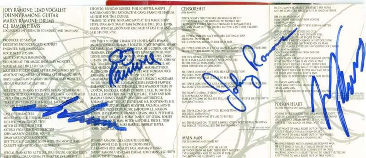 The autographed insert to my MONDO BIZARRO cassette tape... which I want buried with me when I die.