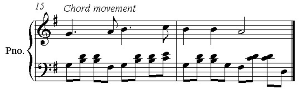 Add a rhythmic element to the left hand chords, breaking them up as necessary