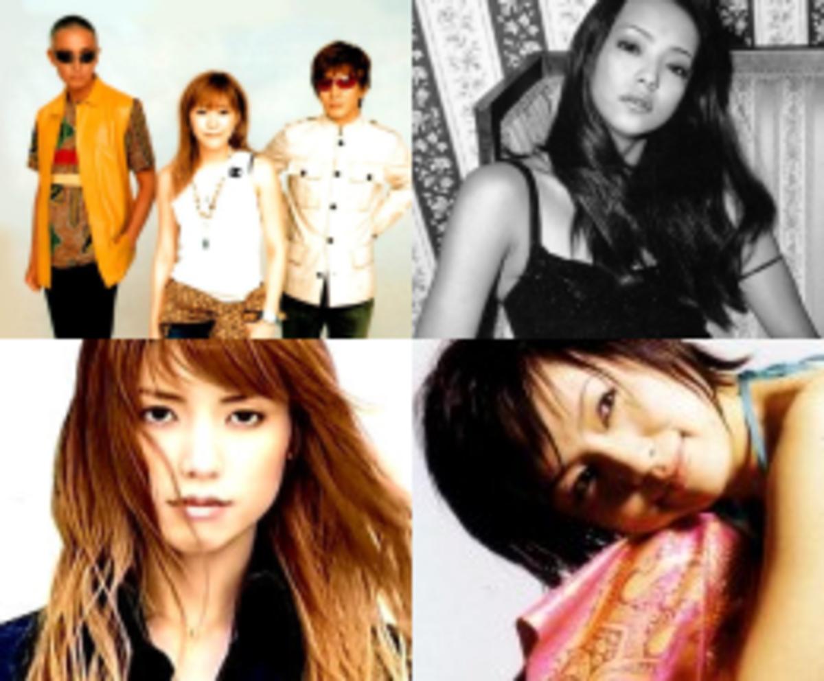 Some of Tetsuya Komuro's most famous acts. L-R, T-B: globe, Namie Amuro, hitomi, Ami Suzuki