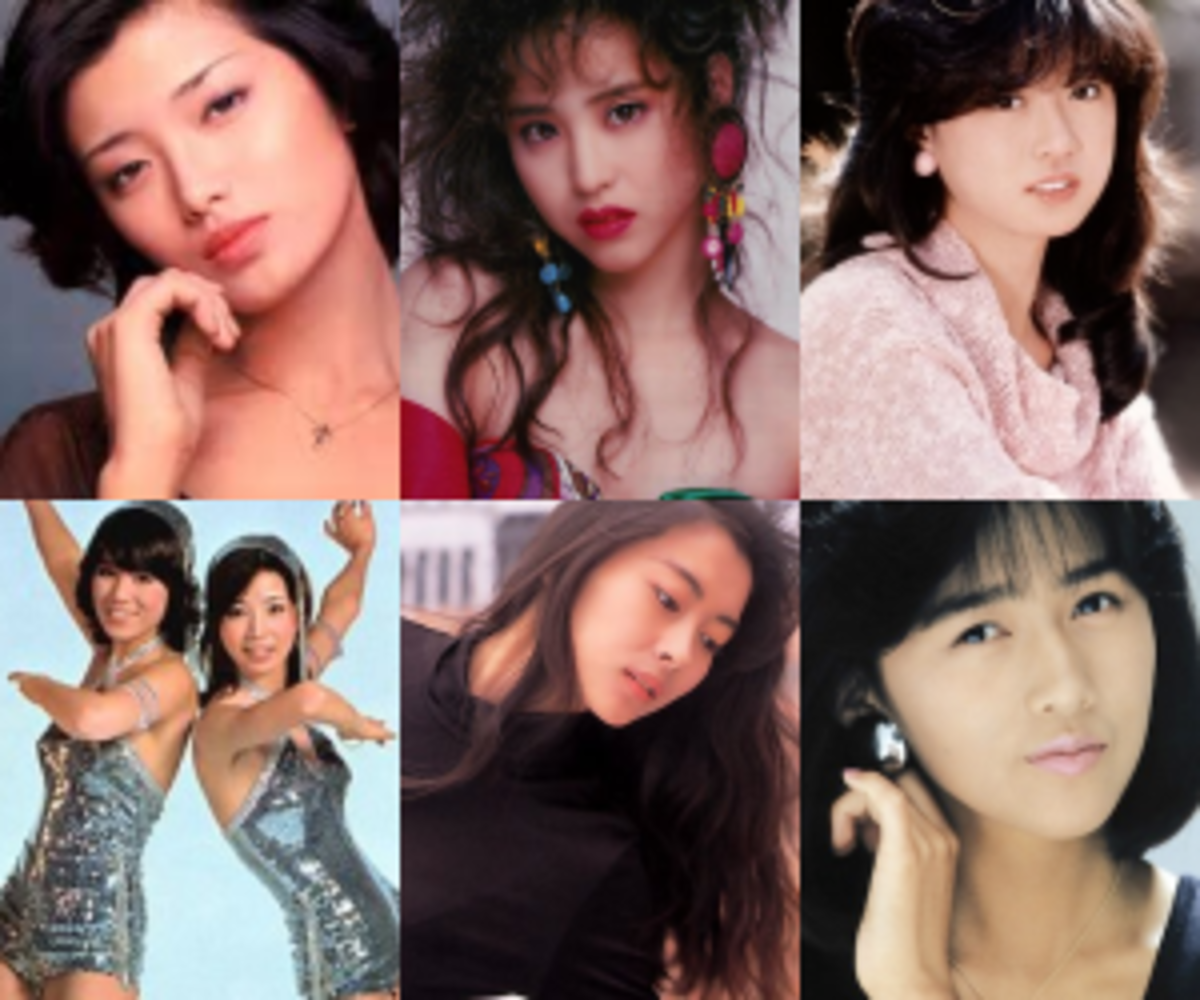 "Six of the biggest faces of ""The Golden Idol Era"". L-R, T-B: Momoe Yamaguchi, Seiko Matsuda, Akina Nakamori, Pink Lady, Miho Nakayama, Shizuka Kudo"