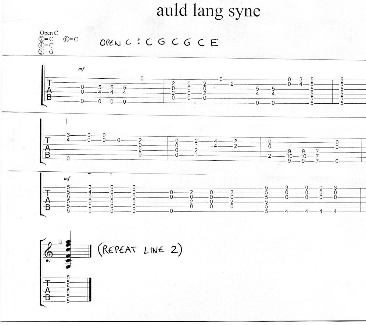 Guitar Tab Open C Tuning Chords