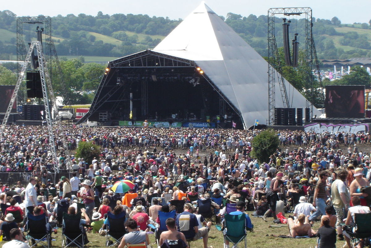 The Glastonbury Festival, featuring the Pyramid Stage.
