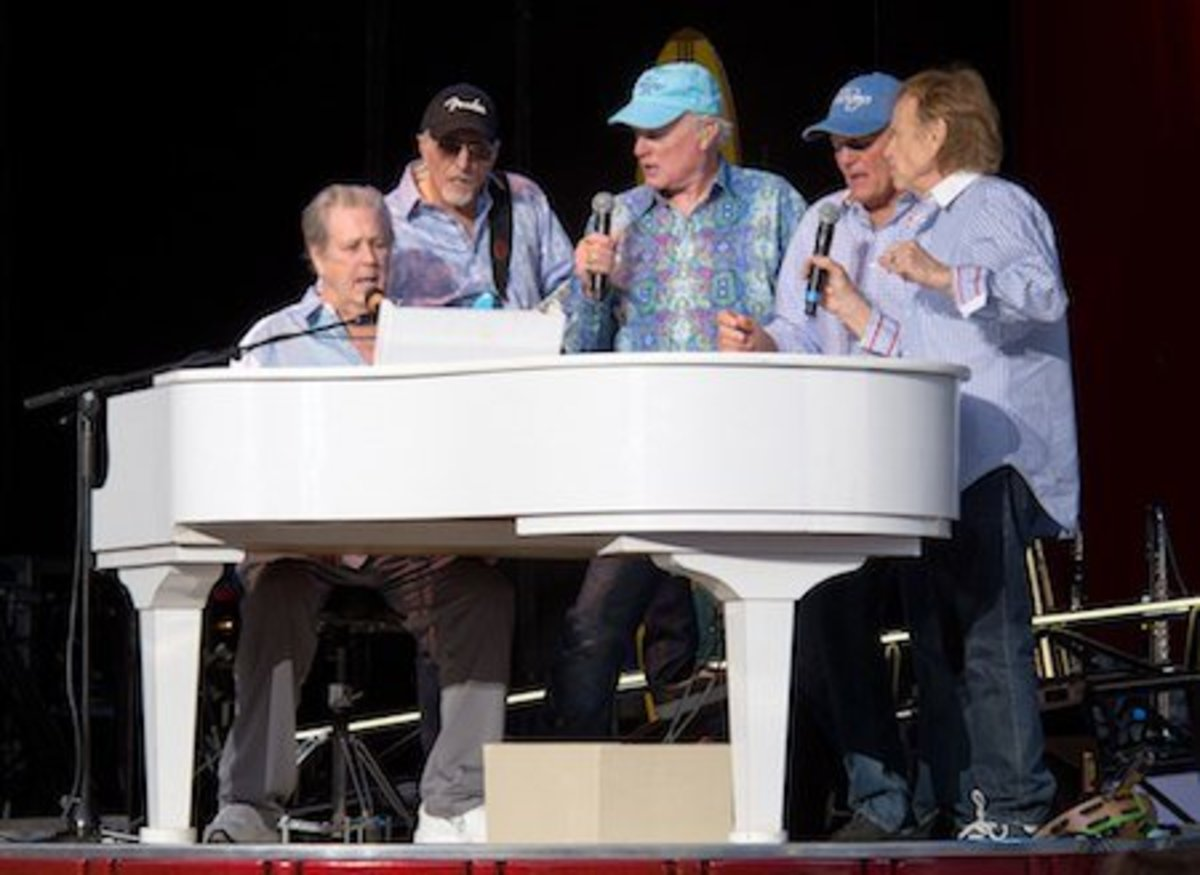 Brian Wilson, David Marks, Mike Love, Bruce Johnston and Al Jardine performing at a Beach Boys concert in May 2012.