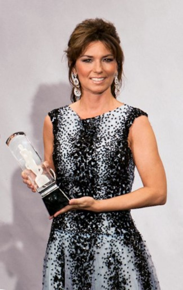 Shania Twain at the 2011 Juno Awards in St. Lawrence Market, Toronto, Ontario, Canada in March 2011.