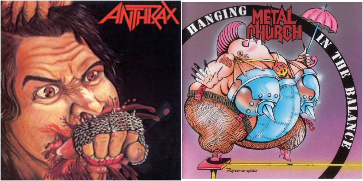 "Left: Anthrax, ""Fistful of Metal,"" right: Metal Church ""Hanging in the Balance"""