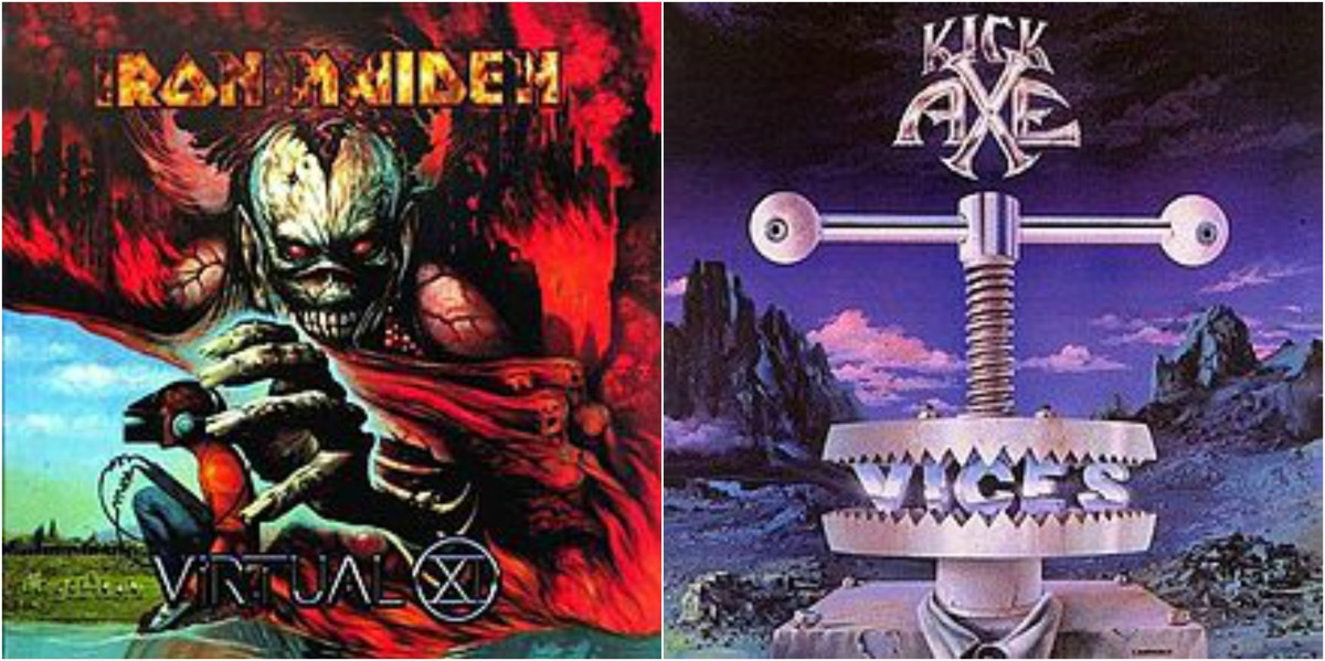 "Left: Iron Maiden, ""Virtual XI,"" right: Kick Axe, ""Vices"""