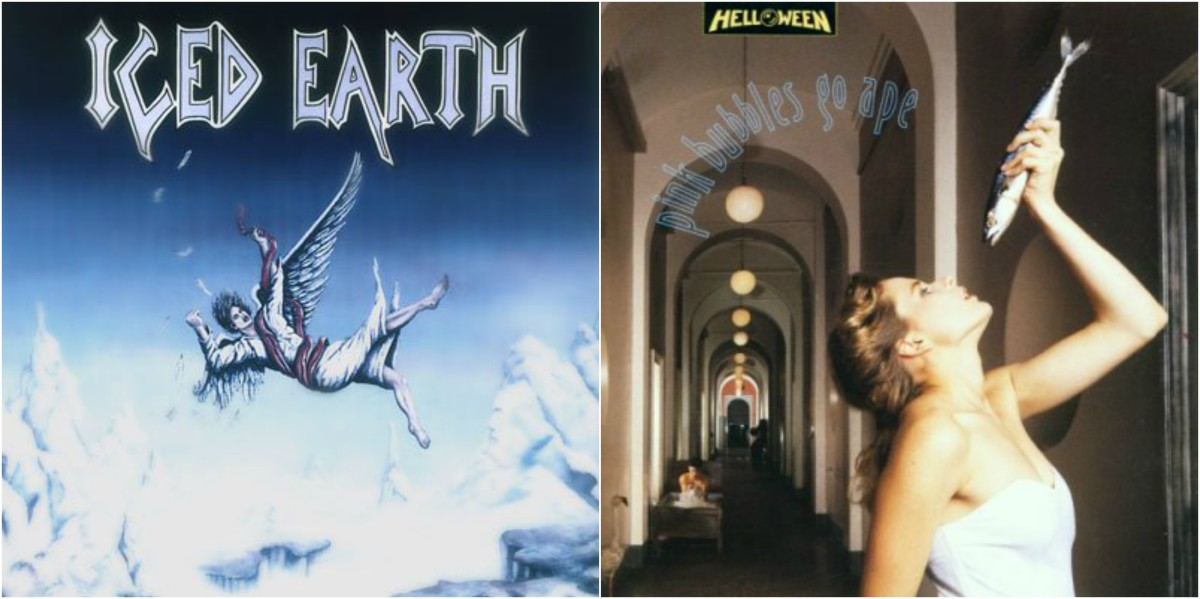 "Left: ""Iced Earth,"" right: Helloween, ""Pink Bubbles Go Ape"""