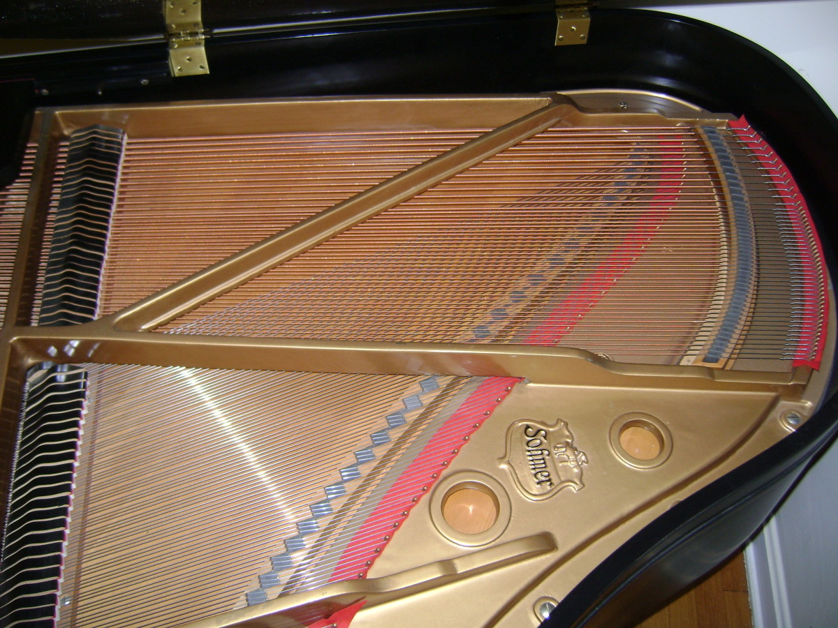 The sounding board on a grand piano