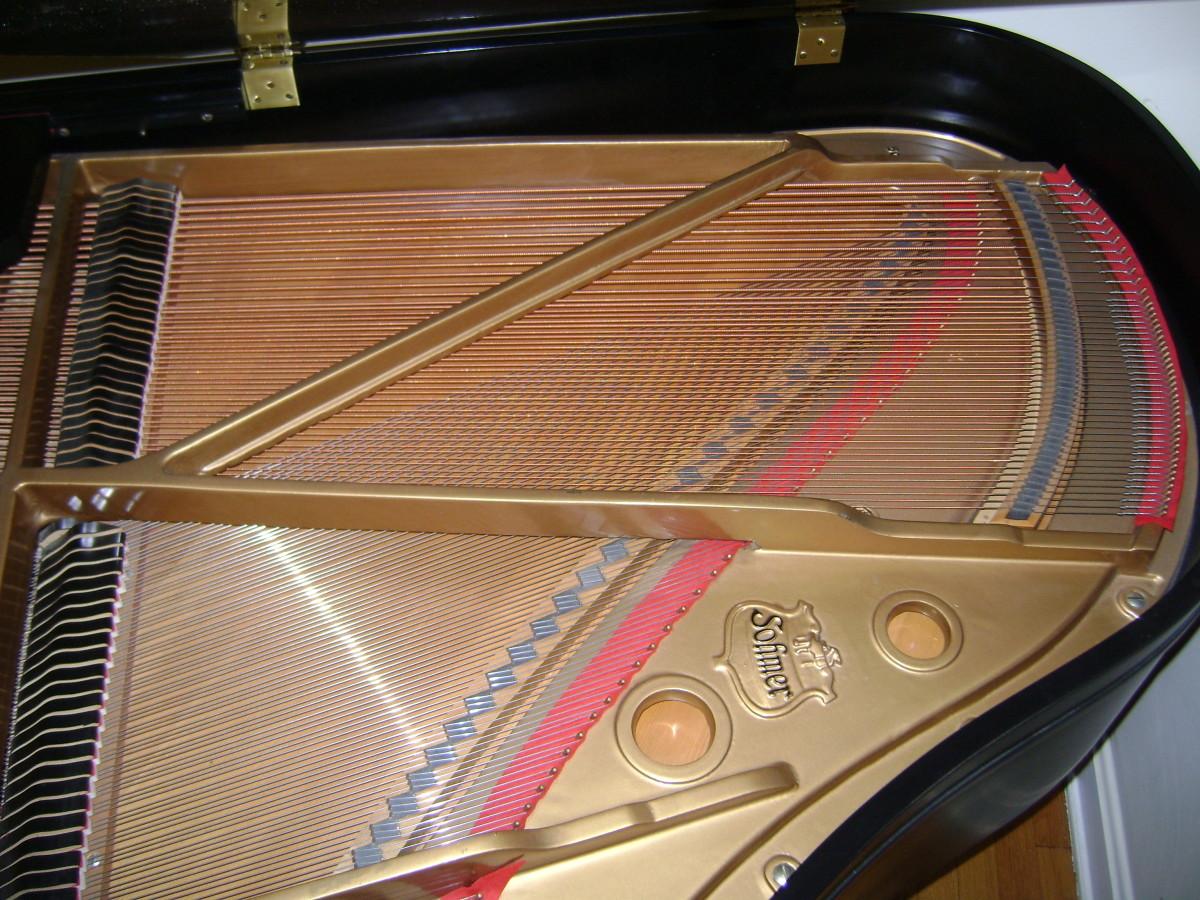 The sounding board on a grand piano