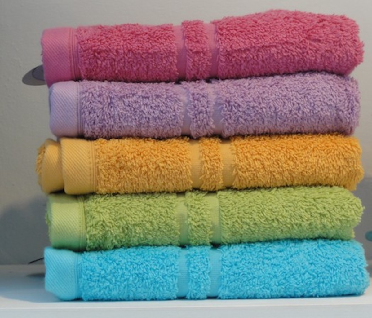 A stack of colored towels
