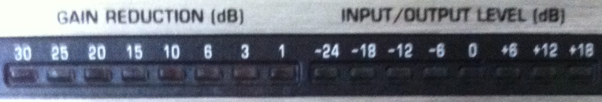 The gain reduction meter and the INPUT/OUTPUT meter, both showing no signal.