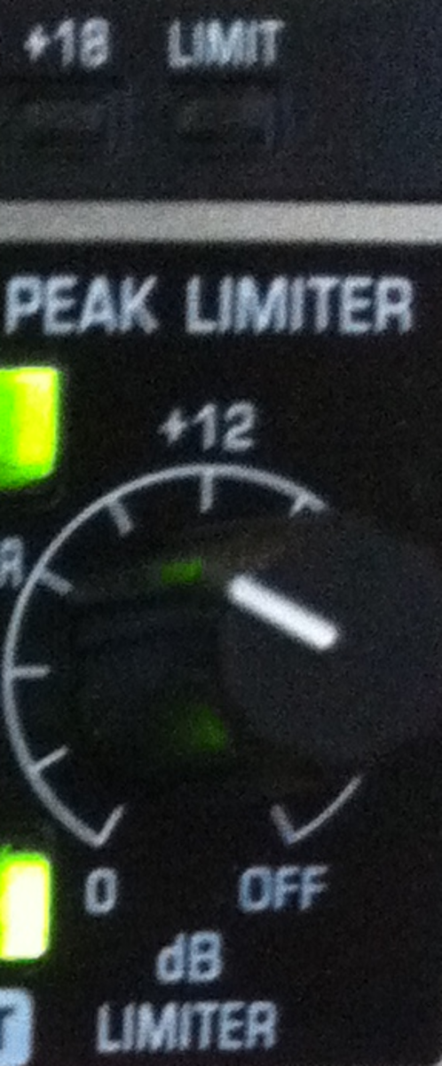 The peak limiter setting is set to a little below +12dB. The LIMIT led is not lit meaning the peak limiter is not applied to the current output signal (signal level is below the set threshold).
