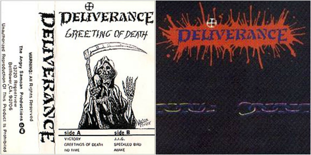 "Left: ""Greetings of Death"" demo (1986); Right: ""Deliverance"" LP (1989)"