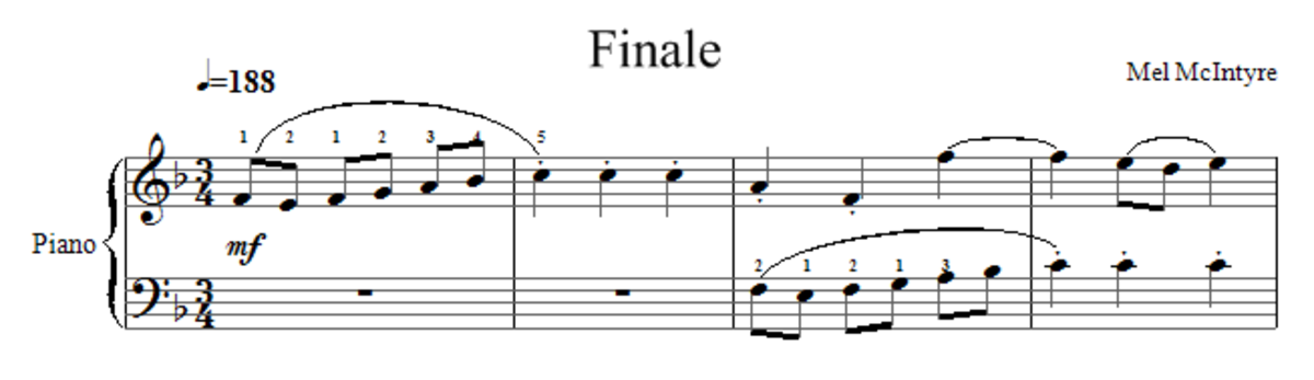 Bars 1 to 4 of the piano piece Finale