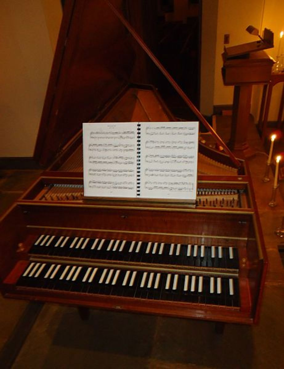 A double manual (two keyboards) harpsichord
