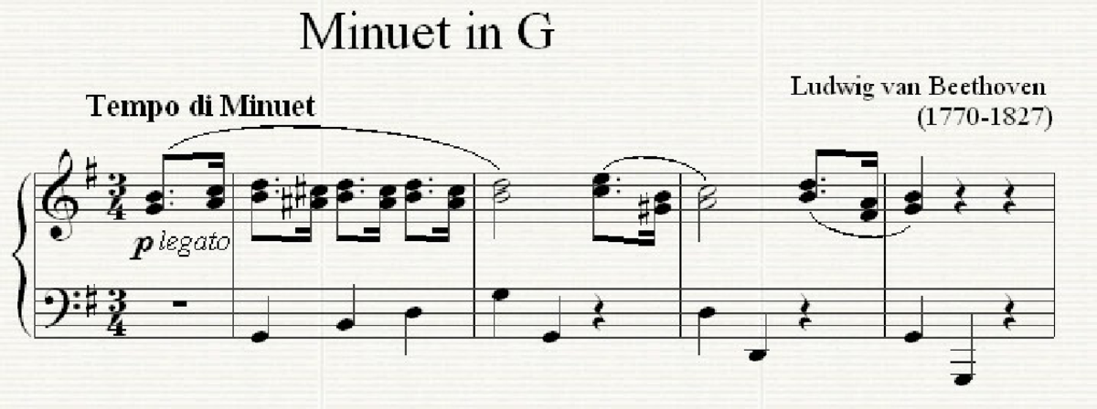 The opening of Beethoven's well-known Minuet in G, which uses the complete Minuet and Trio form