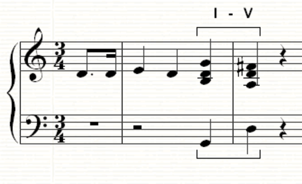 The first cadence in the song, moving from the tonic (I) to the dominant (V)