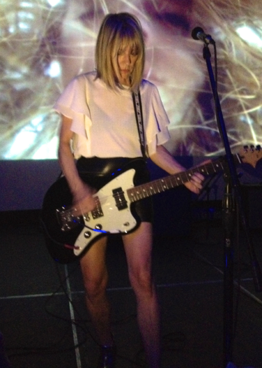 Photo of Sonic Youth bassist Kim Gordon. Kim Gordon is considered one of the founding mothers of alternative and indie rock.
