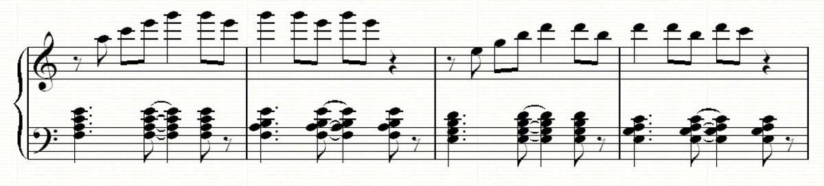 Adding rhythmic interest to the left hand chords