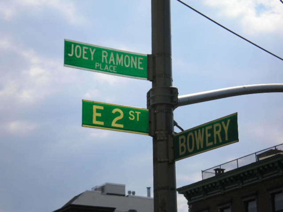 Sign honoring Joey Ramone just outside of the legendary club CBGB in New York.