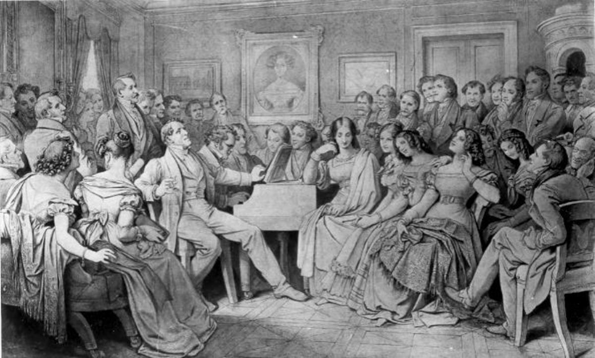 Schubert entertains the crowds gathered round the piano