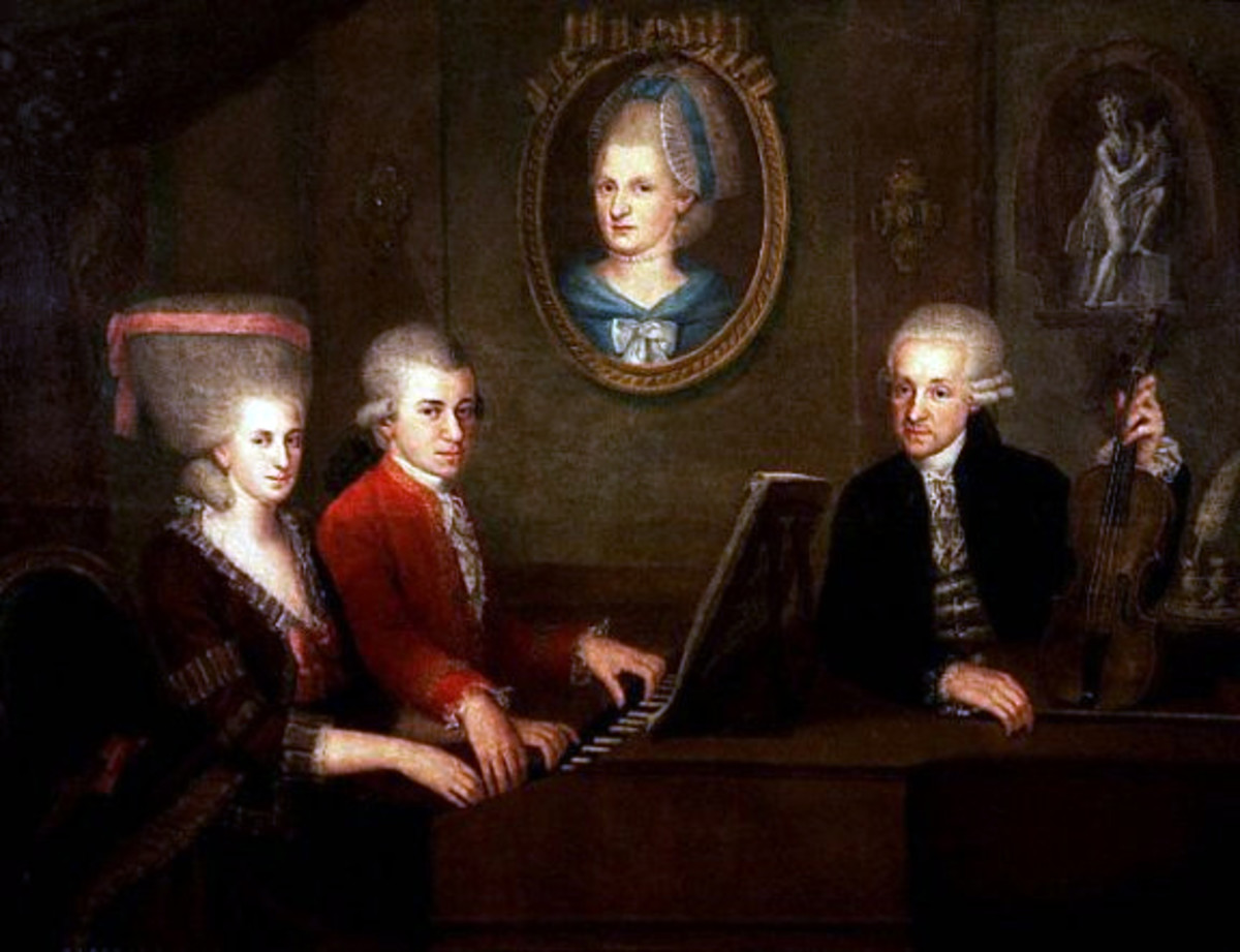 Here we see a Mozart family portrait circa 1780.  Seated at the piano is Mozart and his sister Maria Anne.  To the right of them is their father Leopold, and in the background is a portrait of their mother Anna Maria.