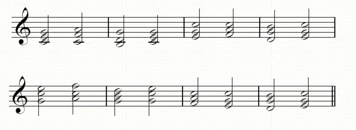 A typical hymn-like progression moving smoothly through the three basic triads