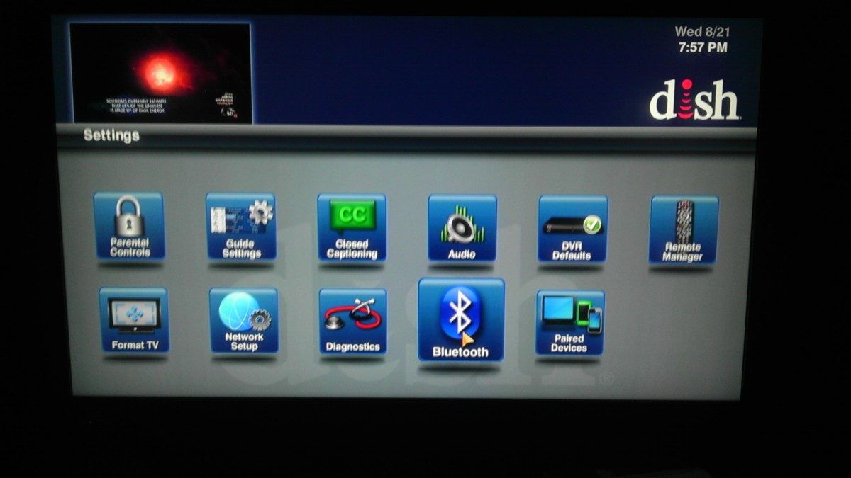 Selecting the Bluetooth icon from the Settings menu.