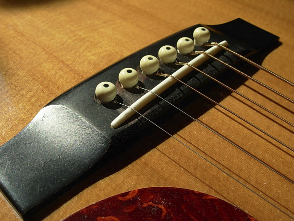 The bridge of an acoustic guitar. A safe haven for strings, and they're final destination down the long road of your guitar.
