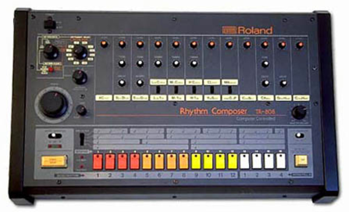 Roland TR808 was the solid foundation of rap beats for many early rap artist. Still considered a legendary drum machine today, but is surpassed with software.