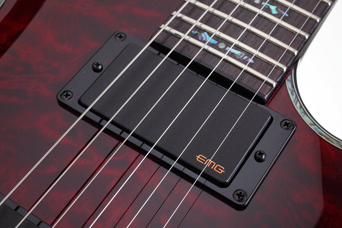 For some players, a metal guitar like the Schecter Hellraiser isn't complete without EMGs.