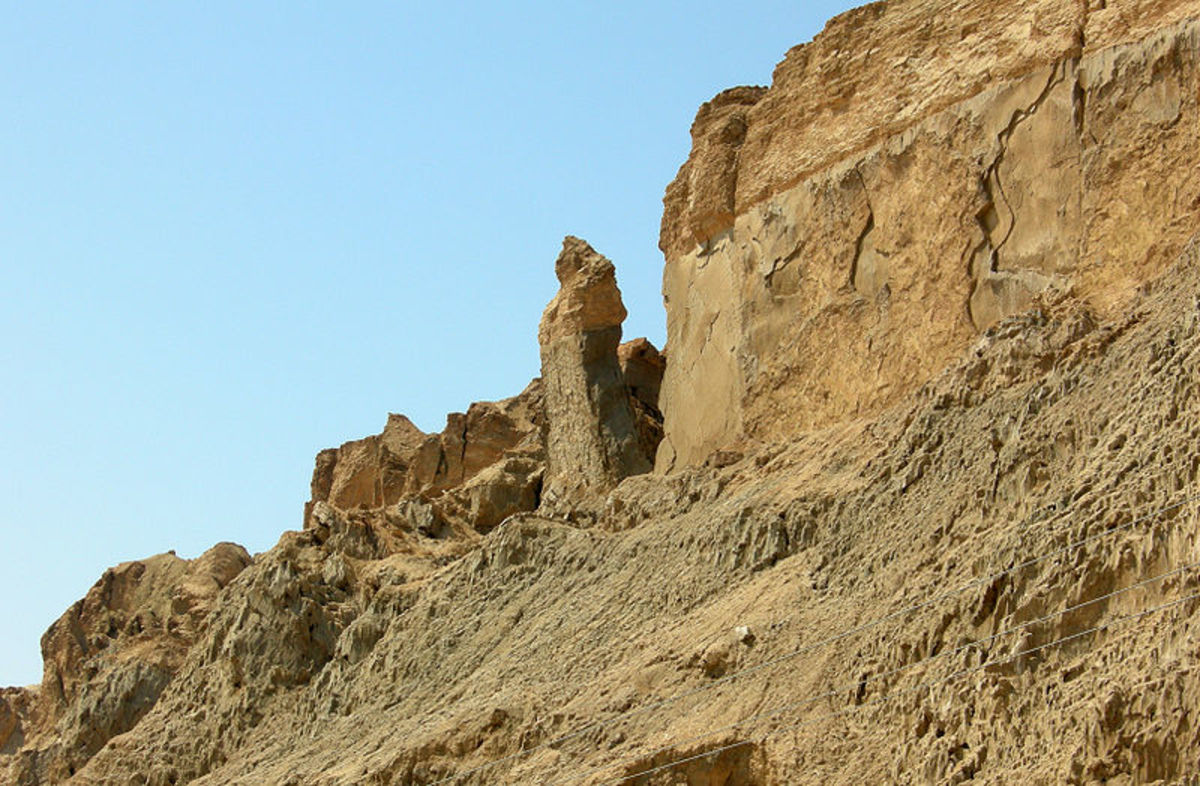 The Lot's Wife Pillar located in Mount Sodom, Israel.