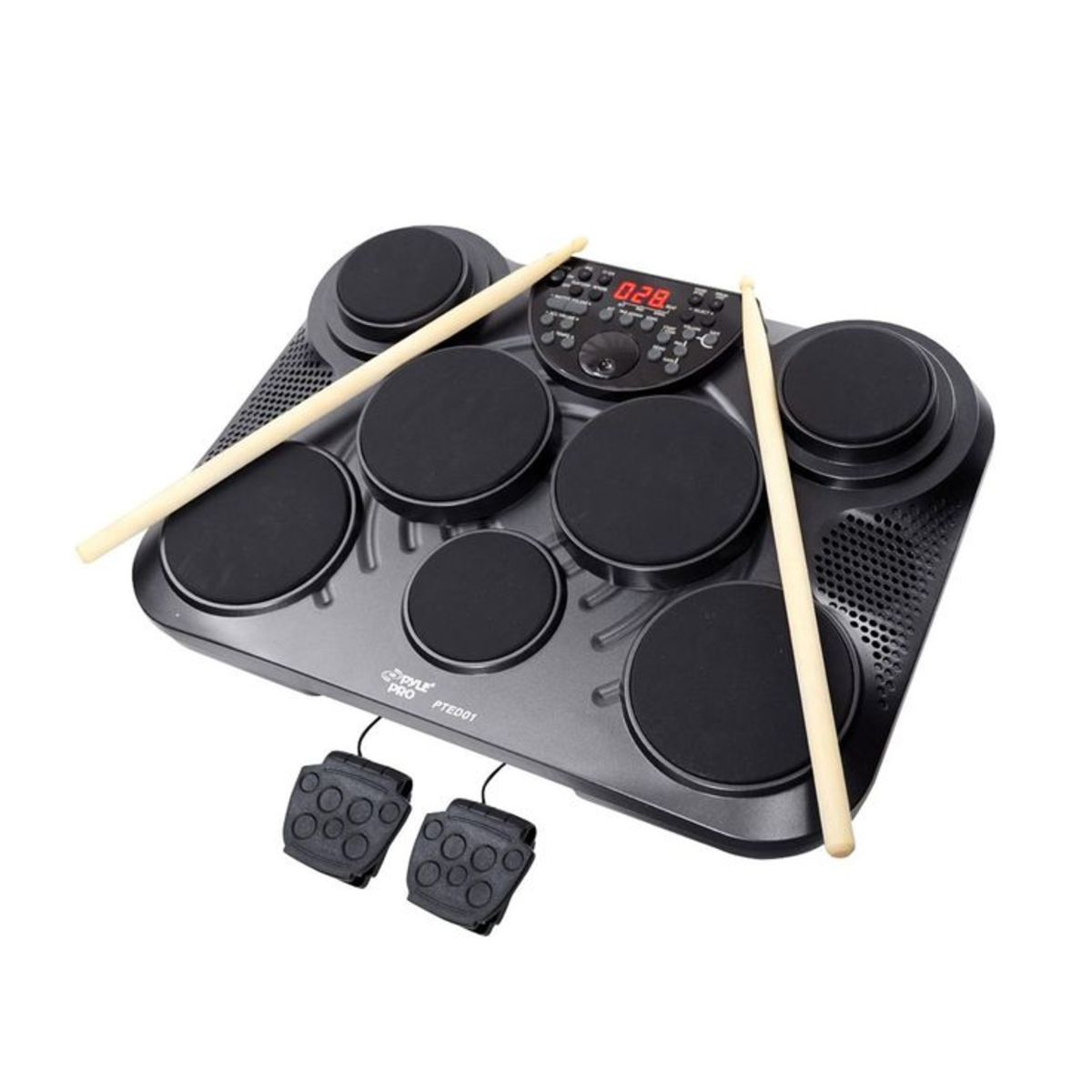 Portable and easy to use, the Pyle electronic drum set.