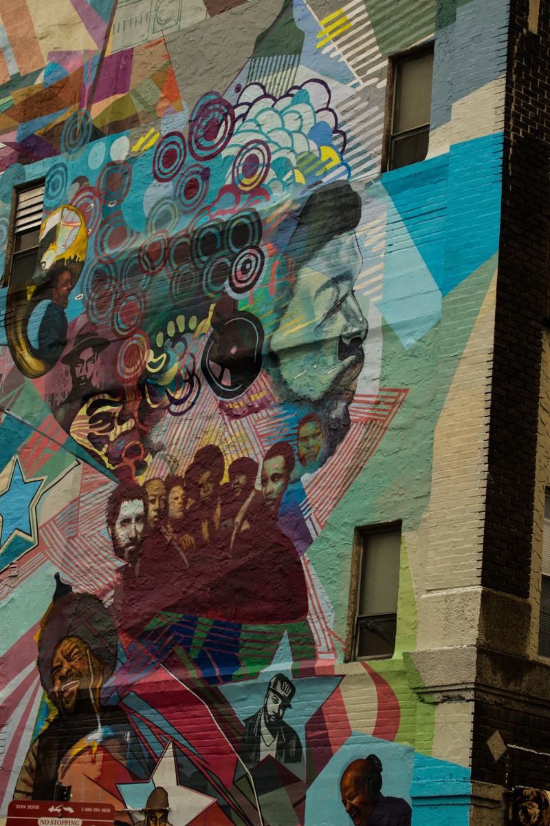 A mural demonstrating hip hop's influence on society.