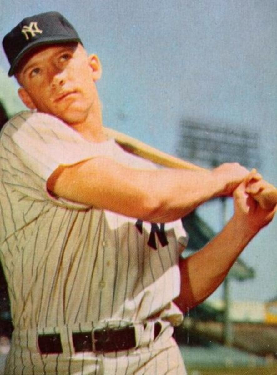 """Photo is taken from a 1953 Bowman Baseball card. The National Baseball Hall of Fame inductee was one of four New York Yankee greats who performed """"Take Me Out to the Ball Game"""" on an April 13th, 1958 episode of the Ed Sullivan Show."""